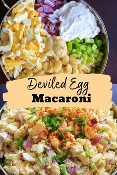Deviled egg pasta salad with macaroni. Light on the mayo and big on flavor, this dish is a hit at cookouts or summer gatherings! Great way to use leftover hard boiled eggs. Vegetarian Pasta Salad, Vegetarian Recipes Easy, Raw Food Recipes, Mexican Food Recipes, Salad Recipes, Healthy Recipes, Drink Recipes, Boiled Egg Salad, Boiled Eggs Healthy