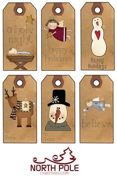 Primitive Christmas Labels to Print - Prim Angels, Snowman Christmas Gift Tags Printable, Christmas Labels, Holiday Gift Tags, Primitive Christmas, Christmas Printables, Diy Christmas Gifts, All Things Christmas, Holiday Cards, Christmas Ornaments