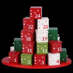 A beautiful advent calender that has little doors to hide the presents behind.