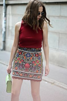 711300b670 Street Style Fashion featuring the Latest Women's Fashion Outfit Ideas and  Inspiration. ⭐ A Gypsy Embroidered Skirt with Flowers as featured on  Pasaboho.