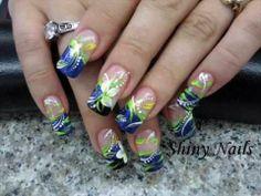 purple and blue nail designs | rhinestone blue purple 3d nail art designs - Google Search