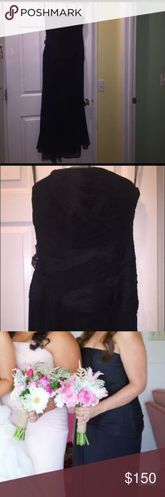 Vera Wang Bridesmaid Dress Strapless black chiffon dress. Worn once. Size 10 but altered to size 6. Also altered length for my height if 5'1 while wearing heels ;) Vera Wang Dresses Wedding