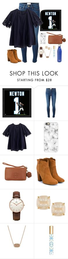 """Go panthers"" by apemb ❤ liked on Polyvore featuring Frame Denim, J.Crew, Casetify, Tory Burch, Laurence Dacade, Daniel Wellington, Kate Spade, Kendra Scott, S'well and women's clothing"