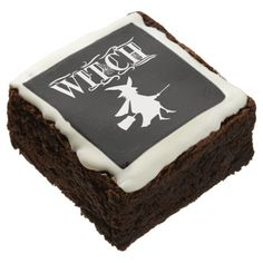 Halloween White Flying Witch Icon Shape Typography Brownie