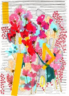 Red Dots, Stripes and Yellow Bits with Added Flowers