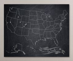 Chalkboard Resemblance United States Map Art Print Us Map 8x10 Custom Pinpoint Personalized