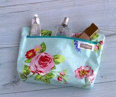 Oilcloth cosmetic bag aqua floral cosmetic bag by atifotbags