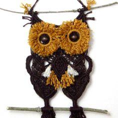 Omar - Wall Owl Macrame Pendurado, Chocolate Castanho Dourado Decoração Pássaro, Primitive queda Decor