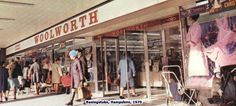 The windows of Woolworths in Basingstoke, Hampshire - a large, self-service store in a new shopping centre location, pictured in 1970