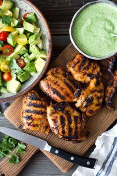 Grilled Peruvian Chicken with Green Sauce