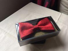 Handmade silk bow tie, Moss Bros, red, vintage.