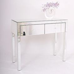 Two Drawer Dressing Table In Mirrored Or Black