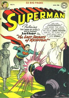 Superman (DC, CGC FN- Off-white to white pages. Second cover appearance of Lex Luthor for this - Available at Sunday Internet Comics Auction. Old Superman, Superman Comic Books, Dc Comic Books, Comic Book Artists, Comic Book Covers, Superhero Superman, Superman Family, Dc Comics Art, Classic Comics
