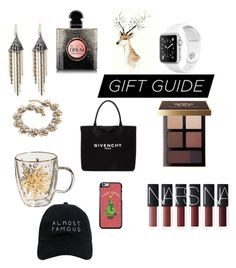 """""""Gift Guide"""" by alice-claire-rose ❤ liked on Polyvore featuring Lulu Frost, Yves Saint Laurent, Bobbi Brown Cosmetics, Givenchy, J.Crew and Nasaseasons"""