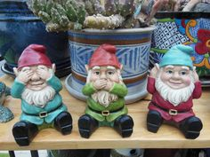 Garden Gnomes (Hear no evil, speak no evil, see no evil) plastic art