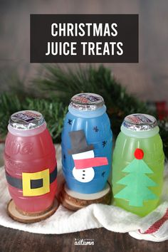 These adorable Christmas juice treats are an easy idea for classroom parties! Easy Christmas Treats, Christmas Drinks, Simple Christmas, All Things Christmas, Christmas Ideas, Christmas Crafts Sewing, Christmas Origami, Christmas Activities For Kids, Crafts For Kids