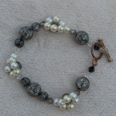 Pearl and Granite Glass Beaded Bracelet by handmadejewelrybypam on Etsy
