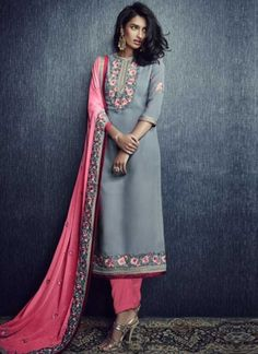 Pink Grey Embroidery Booti Work Georgette Santoon Designer Pakistani Suit http://www.angelnx.com/Salwar-Kameez/Pakistani-Suits