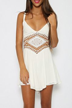 Solid White Lace Paneled Cami Romper.