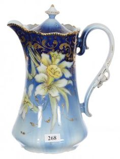 """9 1/2"""" UNMARKED R.S.PRUSSIA CHOCOLATE POT"""