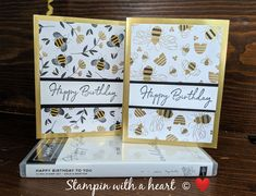 Happy Birthday to You and Golden Honey DSP Sneak Peek Homemade Birthday Cards, Homemade Cards, Bee Cards, Stamping Up Cards, Bee Happy, Paper Cards, Scrapbook Cards, Making Ideas, Cardmaking