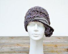 <3 1920 retro cloche beanie hat, hand knited soft wool and acrilic yarn, lilac beige grey felted decoration , ooak woman fashion artsy hat 87