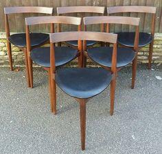 6 six set retro dining chairs Hans Olsen Frem Rojle made Denmark Danish Design
