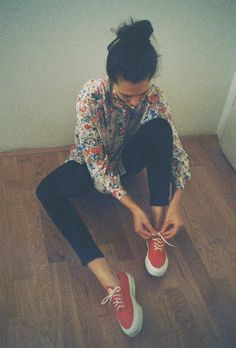 floral shirt, red shoes
