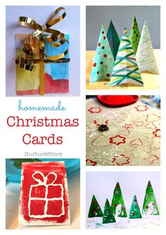 easy homemade Christmas cards for children to make - simple Christmas crafts