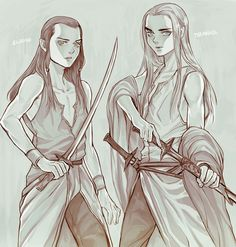 Young Elrond and Thranduil