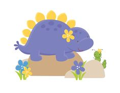 Dinosaur Stegosaurus Mural Wall Decals for baby girl nursery and children's prehistoric dino room decor. This baby stegosaurus sees a worm for the first time #decampstudios