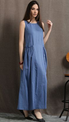 Blue linen dress women dress maxi dress C426 от YL1dress на Etsy
