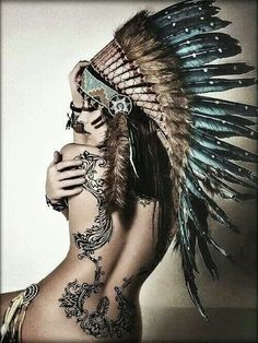 Tribal headdress authentic hand made native american inspired war bonnet 30 Tattoo Girls, Girl Tattoos, Tatoos, Frame Tattoos, Tribal Tattoos, Insane Tattoos, Sexy Tattoos, Awesome Tattoos, War Bonnet