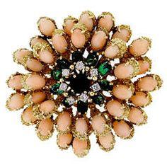 Le Triomphe Coral Tourmaline Diamond Gold Pin Pendant