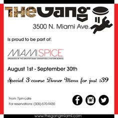 THE GANG RESTAURANT AND LOUNGE  A: 3500 North Miami Ave. Miami - FL 33127 Tel: (305) 570 9430 -  A modern day urban gastropub style eatery with an Euro - Asian world menu enhanced with Indian influence and a Bangkokian Thai twist. The Gang is simplistic and comforting, bohemian refined