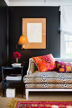 Exotic Interior Design | Leopard Print | Black Walls | #LeopardPrint | #BlackWalls | Tribal | #Tribal