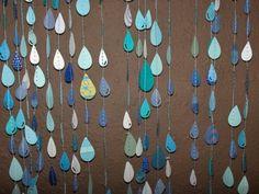 sewn paper raindrop garland | KateGreiner on Etsy