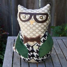 CUSTOM made huggable owl pillows from discontinued samples? Yes please!