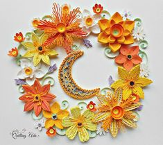 Quilling flowers under the moonlight/paper art/wall art/home