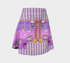 Cute Poodles and Lambs Mauve Gingham Whimsical Flared Skirt, A-Line, Party Skirt, Pretty Clothing, Festival Clothing, Skater Skirt, Girls Festival Clothing, Festival Outfits, Flared Skirt, Skater Skirt, Harajuku Clothing, Picasso Style, Funky Art, Half Dolls, Party Skirt