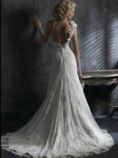 Bridal Shop Brilliant Custom-Made A-Line One Shoulder Lace Satin Court Train Wedding Dress