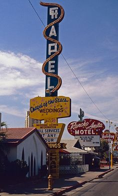 Chapel of the Stars and Rancho Anita Motel, one of the oldest on the strip, by Gerold Dreyer (1981). Both were demolished in 1994.