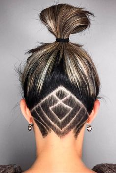 Best Undercut Hairstyle Ideas with Hair Tattoo for Women ★ See more: http://lovehairstyles.com/best-undercut-hairstyle-women/