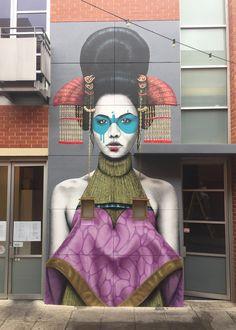 """Zaluuokhin"", Street Art by Fin DAC spotted in Adelaide, Australia. Murals Street Art, Art Mural, Street Art Graffiti, Wall Art, Graffiti Girl, Graffiti Artwork, Amazing Street Art, Amazing Art, Banksy"