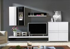 Germania Freestyle Contemporary Wall Storage System in Black Glass and White