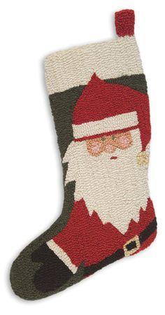Merry Santa, hand hooked wool stocking, Chandler 4 Corners, Manchester VT