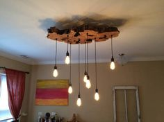Medium Live-Edge Olive Wood Chandelier Light Fixture with