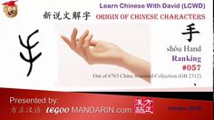 Origin of Chinese Characters 0057 手 hand -Learn Chinese with Flash Cards