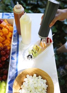 fruit kabob sundaes. Hm, put in desert board or camping board, could really go either way....