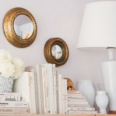 All white bookshelf Tips, Decor Styles, Round Mirrors, Circle Mirrors, Home Accents, Wall Accents, Copper Accents, Mirror Mirror, Wall Mirrors